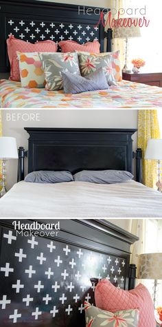 Awesome DIY Headboard makeover on the cheap! Only need a roll of vinyl and a Silhouette CAMEO. Great way to update an old bed!