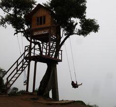 Swinging at the tree house banos ecuador