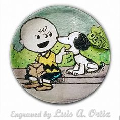 Retro Snoopy & Charlie 619 Hobo Nickel Engraved & Colored Pinup by Luis A Ortiz Hobo Nickel, Pinup, Hand Carved, Snoopy, Miniatures, Carving, History, Retro, Artwork