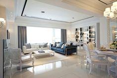 Taiwan penthouse condo decor: white and grey decor