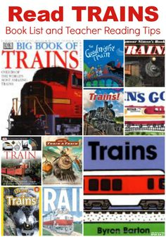 Train Books for Kids. A book List and teaching reading tips for our favorite train themed books.