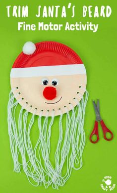 Trim The Beard Paper Plate Santa Craft is so cute and lets kids develop their fine motor cutting skills. A fun educational Christmas craft for preschoolers. Preschool Christmas Crafts, Santa Crafts, Christmas Activities For Kids, Toddler Christmas, Kids Christmas, Craft Activities, Childrens Christmas Crafts, Xmas, Diy Arts And Crafts