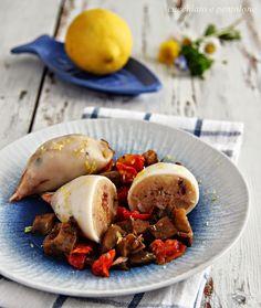 calamari ripieni di patate con pomodorini e melanzane