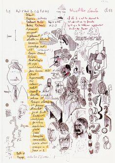 """Georges Perec, La Vie mode d'emploi   """"Cahier des charges"""". BnF, Arsenal, dépôt G. Perec, 61, 45 et 61, 54   Chaque feuillet correspondant à un chapitre porte la liste des 42 éléments qui doivent obligatoirement y être utilisés."""