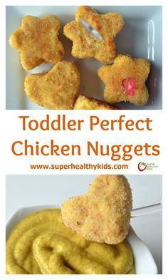 Toddler Perfect Chicken Nuggets Recipe. Easy for toddlers to eat without choking on hunks of meat! www.superhealthykids.com/toddler-perfect-chicken-nuggets