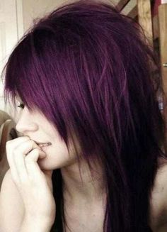 Purple hair with uneven ends