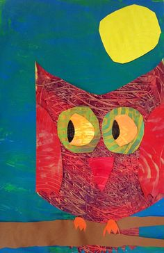 painted paper owl collage
