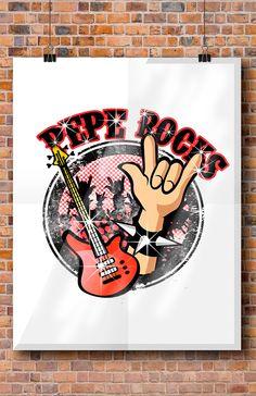 Logo Pizza Pepe rocks.... peperoni & champiñones!!