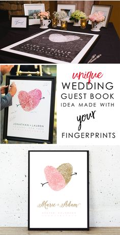 The wedding planning is well underway –don't forget to remember it all for many years to come! Made with your fingerprints, this unique guest book alternative will impress your guests and fill your home with beauty well after your wedding is the sweetest memory | Flutterbye Prints