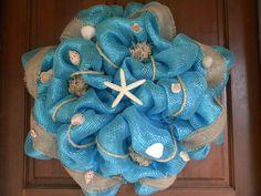 Deco Mesh Beach Wreath. $65.00, via Etsy.