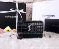 efd9fd959e36 Yves Saint Laurent Cross-body Croco Leatehr Shoulder Bag Y8606 Black. YSL  Bags Sale