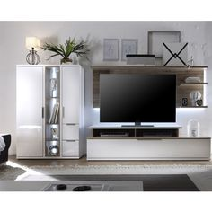 Living Room Furniture Sets & Packages, Furnitureinfashion UK Kelso Living Room Set 4 In White Gloss Front And Oak With LEDs Living Room White, Living Room Sets, Living Room Furniture, Furniture Sets, Wall Tv Stand, Home Remodeling, Modern Contemporary, Interior Design, Foyers