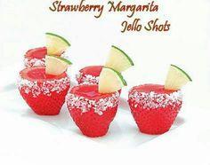 Strawberry Margarita Jell-O Shooters  Yields 24-30 Strawberry Margarite Jello Shooters  1 box (3 oz) strawberry jello, 8 oz tequila,  6 oz cointreau