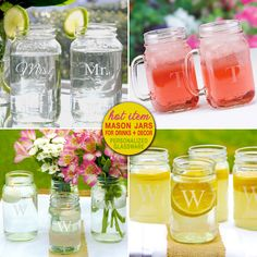 personalized mason jars - makes fun rustic toasting flutes and beautiful vases | from Daisy Days