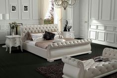 Delicieux Modern White Tufted Leatherette Bed With Crystals On The Headboard. Great  Quality And Beautiful Design Lines Make This Bed Unique For Any Kind Of  Bedroom ...