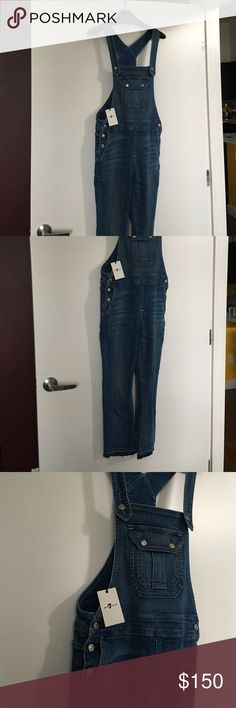 Cropped Demin Overalls 7 for all mankind NWT Delphi Beach 7 for all mankind dropped overalls. 7 For All Mankind Jeans Overalls