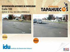 Intervención Acciones de Movilidad en la Calle 100 con Carrera 18. #TapaHuecos