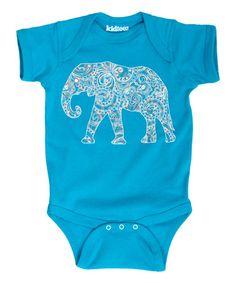 Look at this #zulilyfind! Turquoise Elephant Bodysuit - Infant #zulilyfinds