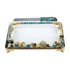 Challah Tray and Knife with Jerusalem Scenery and Sapphire Accents