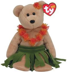 Our Top 10 Hawaiian Souvenir Ideas for shopping before or after your trip to Hawaii. Ty's Hawaiian plush bear Alana.