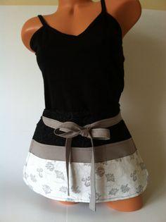Elegant Vendor Apron  Sparkly Grey White Black with by mizzeztee