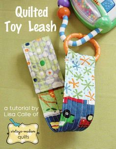 Keep those favorite baby toys attached securely to the stroller with this soft quilted toy leash from Moda Bake Shop. Tutorial by Lisa Calle of Vintage Modern Quilts.