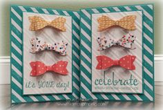 Stampin' Up Birthday Bash dsp, Bow Builder Punch, Fabulous Four, Celebrate, it's your day, birthday wishes, birthday bowties, SU, www.midmostamping.com