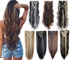 Days Delivery inches Highlight Straight Wavy Curly Full Head Clip in Hair Extensions Women Lady Hairpiece Hair Extensions Best, Synthetic Hair Extensions, Bleach Blonde, Ash Blonde, Halloween Hair, Blow Dry, Hair Pieces, Hair Lengths, Curls