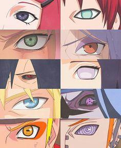 Naruto character eyes, Kushina, Gaara, Sakura, Konan, Madara, Hinata, Minato, Sasuke, Naruto, Pain, Sharingan, Byakugan, Cursed Mark, Sage Mode, Rinnegan; Naruto