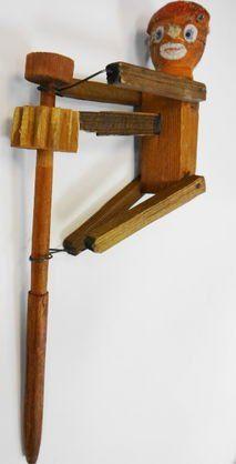 Vintage Halloween Toy ~ Spinning Pumpkin Man Toy * Wood w/ Paper Mache Head