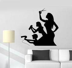 Our vinyl stickers are unique and one of a kind! Every sticker we sell is made per order and cut in house! We make our wall decals using superior quality interior and exterior glossy, removable vinyl Vinyl Wall Stickers, Wall Decals, Christmas Salon, Barber Poster, Beauty Salon Interior, Beauty Salons, Salon Art, Cad Cam, Salon Furniture