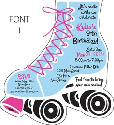 10 Roller Skate Invitations Roller skating Birthdays and Skate party