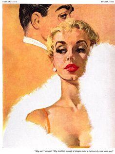 Illustration by Ernest Chiriaka for Cosmopolitan magazine, 1955.