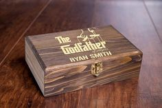 The Custom Wood Godfather Gift Box, Godmother Box or Godparents Keepsake Box! Personalized and engraved with your details!