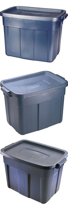 Storage Boxes 159897 Rubbermaid Roughneck Storage Tote Bins 72 Qt (18 Gal) Blue & 42 Gallon Storage Tote Plastic Rolling Wheeled Container Bin Heavy ...