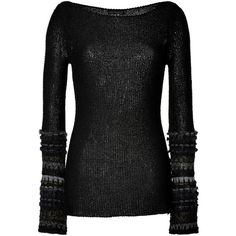 DONNA KARAN Black Open Knit Pullover with Metallic Trim (14,925 MXN) ❤ liked on Polyvore featuring tops, sweaters, shirts, long sleeves, black, open stitch sweater, metallic shirt, black sweater, long sleeve sweaters and long-sleeve shirt