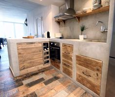 48 The Best Interior Design of a Wooden Kitchen Concrete Kitchen, Wooden Kitchen, Rustic Kitchen, Kitchen Decor, Rustic Farmhouse, Concrete Counter, Best Interior Design, Interior Design Kitchen, Küchen Design