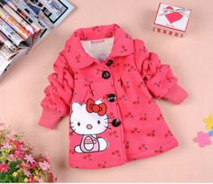 Hello Kitty | Free shiping Hot kids jacket Children's cartoon fawn cashmere winter coat long sleeve fashion baby coat girl's coat,baby clothes $20.00 - 29.00