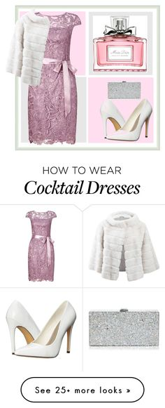"""""""Dress and Fur Coat in Pastel"""" by bambi-52 on Polyvore featuring Adrianna Papell, Michael Antonio, Yves Salomon, Milly and Christian Dior"""