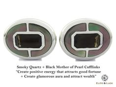 "Smoky Quartz + Black Mother of Pearl Sterling Silver Cufflinks, Rhodium plated, Prestige Model ""Create positive energy that attracts good fortune + Create glamorous aura and attract wealth"" *** Combine 2 Gemstone Powers to double your LUCK ***"