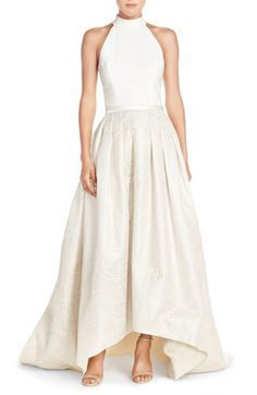 Theia Theia High/Low Jacquard Ballgown available at #Nordstrom