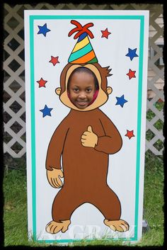 DIY Curious George Birthday Party Photo Prop Head Board.