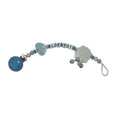 Schnullerkette Schäfchen in babyblau/blau/weiß