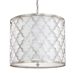 c2b0ad4a2b8 Off Ellis Antique Silver Three Light Pendant by Capital Lighting Fixture  Company.   White Fabric Shade   Chain Length  10 Feet   Wire Length  15  Feet ...
