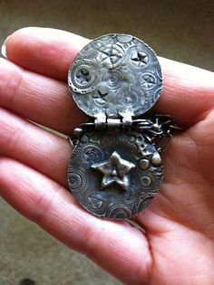 Moon and Stars Locket - Fine Silver