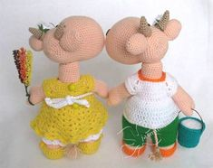 Вяжем крючком коровку Ладушка и бычка Белояр от Янины (jasmine)