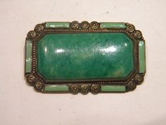 Antique  Victorian Pin/Brooch with Jade Stones