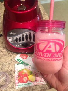 Mango Strawberry Spark Smoothie - 1 cup (almond) milk, 2 cups whole frozen strawberries, 1 T of honey and 1 packet of Mango Strawberry Spark. Delicious!!