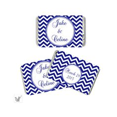 Blue Chevron Wedding Small Candy Wrapper - Printable Personalized Wedding Favors DIY Engagement Party Favors Engagement Party Decorations