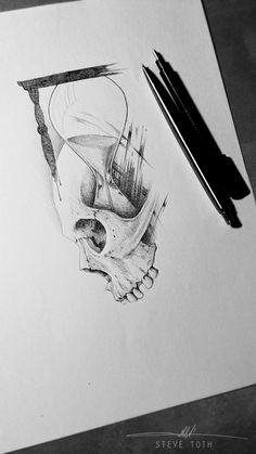 Skull and sand clock, tattoo design